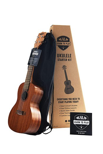 Kala Learn to Play Ukulele Concert Starter Kit, Satin Mahogany (KALA-LTP-C)