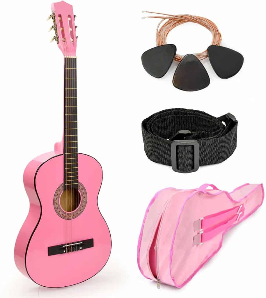 Pink Wood Guitar for Kids