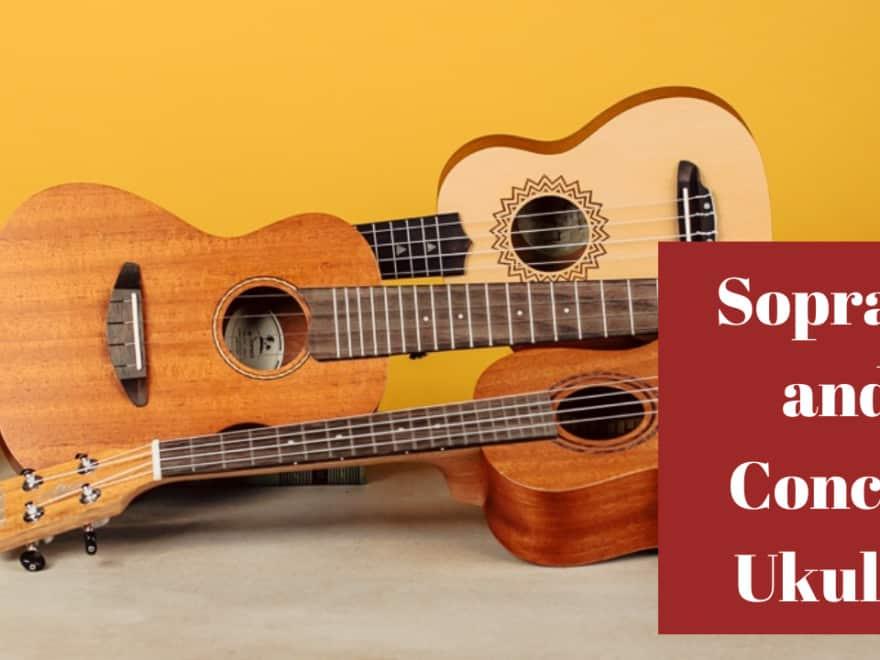 soprano ukulele and a concert ukulele