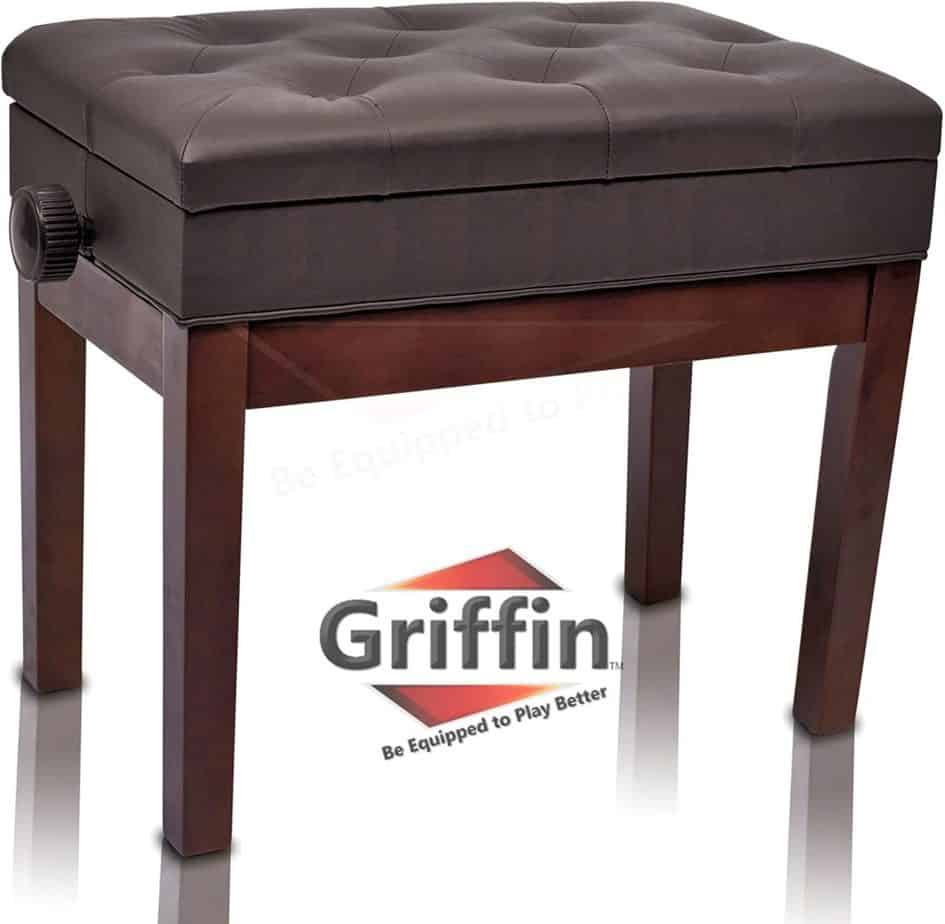 Adjustable piano leather bench by Griffin