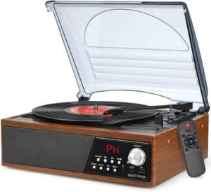 Record Player Turntable Vinyl Bluetooth Radio LP Player by SeeYing