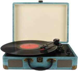 Record Player Vintage 3-Speed Bluetooth Vinyl Turntable by Kedok