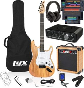 Electric Guitar Kit with 20 W Amp Package and Professional Headphones
