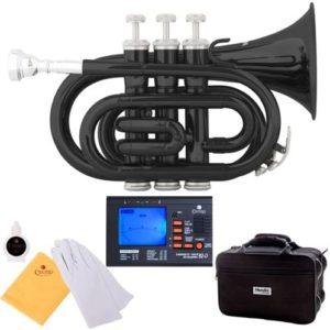 Mendini MPT-BK Black Lacquer Brass Bb Pocket Trumpet