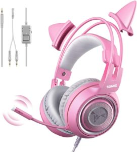 Best Cat Ear Headphones for Gaming: SOMIC G951s Pink Stereo with Mic for PS4, Xbox One, PC, Mobile Phone